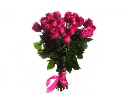 Букет из 21 высокой розовой розы