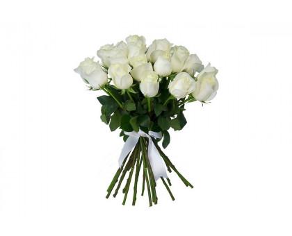 Букет из 25 белых роз средней длины