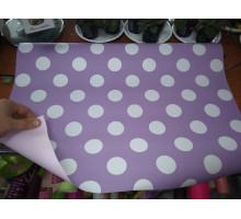 Бумага глянцевая двухсторонняя светло-фиолетовая с белыми кружочками